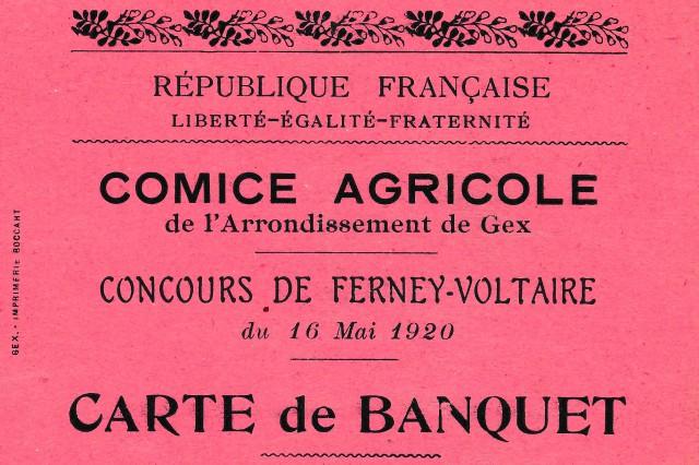 1920 MMV044a Carte de banquet comice agricole